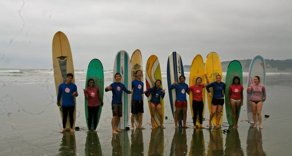 surfing yoga group class