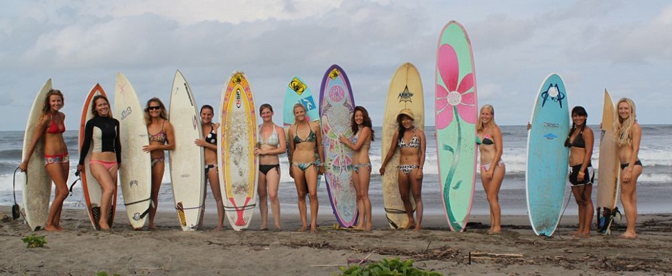 Women with Surfing board